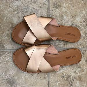 Nine West slide sandals rose gold 7.5